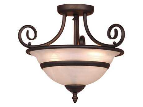 Vaxcel Da Vinci Oil Burnished Bronze & Alabaster Glass Three-Light 16 Semi-Flush Mount Light