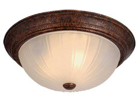 Vaxcel Weathered Patina & Frosted Glass Two-Light 13 Flush Mount Light