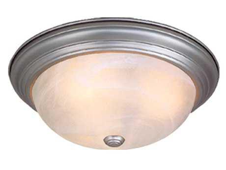 Vaxcel Saturn Brushed Nickel & Alabaster Glass Two-Light 11 Flush Mount Light