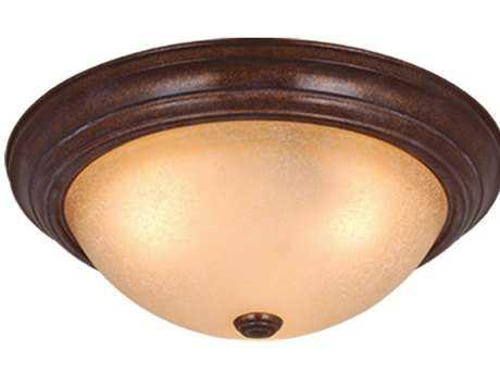 Vaxcel Saturn Royal Bronze & Creme Cognac Glass Two-Light 11 Flush Mount Light