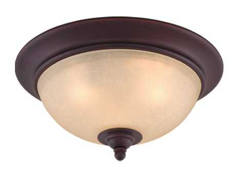 Vaxcel Avalon Oil Burnished Bronze & Creme Cognac Glass Two-Light 13 Flush Mount Light