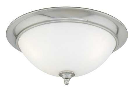 Vaxcel Mont Blanc Satin Nickel & Frosted Opal Glass Two-Light 13 Flush Mount Light