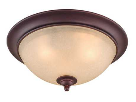 Vaxcel Avalon Oil Burnished Bronze & Creme Cognac Glass Three-Light 15 Flush Mount Light