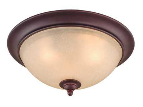 Vaxcel Avalon Oil Burnished Bronze & Creme Cognac Glass Three-Light 15 Flush Mount Light