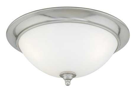 Vaxcel Mont Blanc Satin Nickel & Frosted Opal Glass Three-Light 16 Flush Mount Light