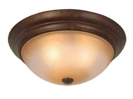 Vaxcel Monrovia Royal Bronze & Brushed Cognac Glass Three-Light 15 Flush Mount Light