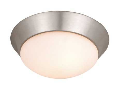 Vaxcel Tertial Brushed Nickel & Frosted Opal Glass Two-Light 14 Flush Mount Light