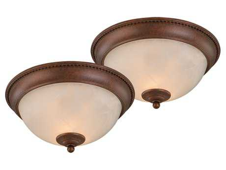 Vaxcel Builder Twin Packs Weathered Patina & Alabaster Glass 11 Flush Mount Light (Two-Piece Set)