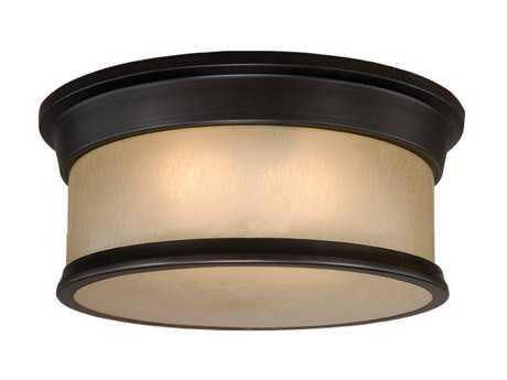 Vaxcel Carlisle Noble Bronze & Smoky Opal Glass Two-Light 14 Flush Mount Light