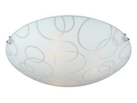 Vaxcel Loft Satin Nickel & Cured Silkscreen Glass Two-Light 16 Flush Mount Light