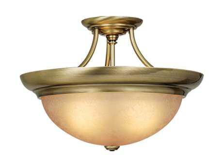 Vaxcel Antique Brass & Cognac Crackle Glass Three-Light 17 Semi-Flush Mount Light