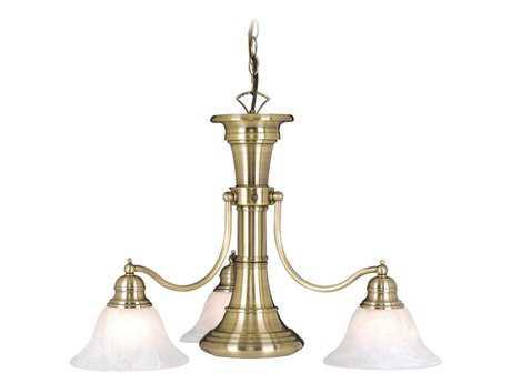 Vaxcel Standford Antique Brass & Alabaster Glass Three-Light 26'' Wide Chandelier