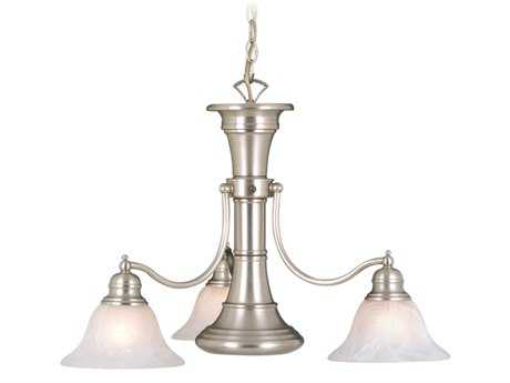 Vaxcel Standford Brushed Nickel & Alabaster Glass Three-Light 26'' Wide Chandelier