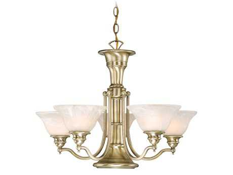 Vaxcel Standford Antique Brass & Alabaster Glass Six-Light 25'' Wide Chandelier