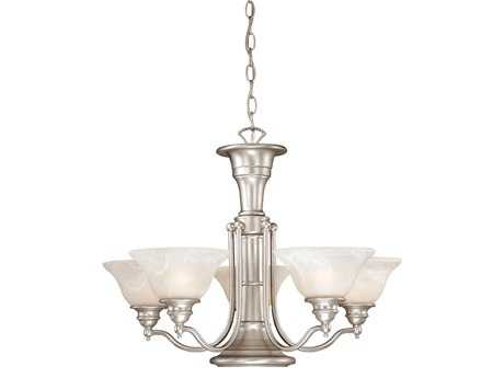 Vaxcel Standford Brushed Nickel & Alabaster Glass Six-Light 25'' Wide Chandelier