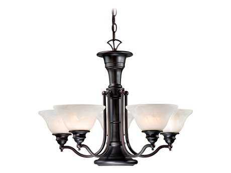 Vaxcel Standford Oil Burnished Bronze & Alabaster Glass Six-Light 25'' Wide Chandelier