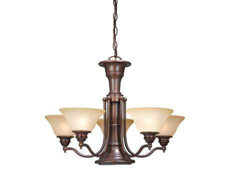 Vaxcel Standford Royal Bronze & Creme Cognac Glass Six-Light 25'' Wide Chandelier