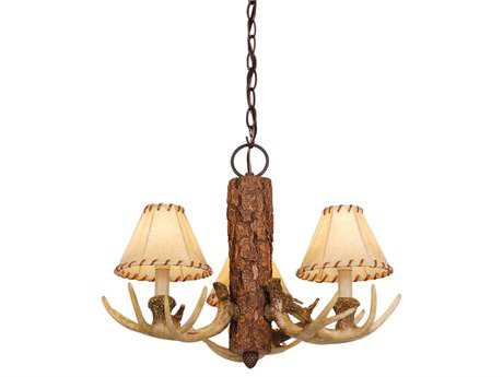 Vaxcel Lodge Noachian Stone & Fabric Three-Light 19'' Wide Mini Chandelier