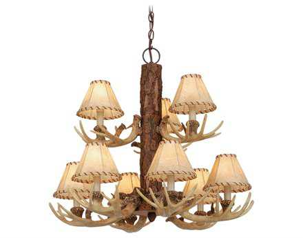 Vaxcel Lodge Noachian Stone & Fabric Nine-Light 26'' Wide Chandelier