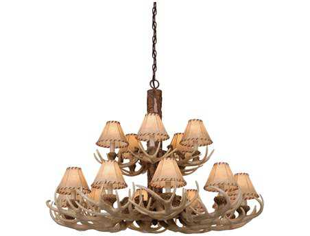 Vaxcel Lodge Noachian Stone & Fabric 15-Light 39'' Wide Chandelier