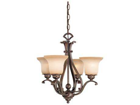 Vaxcel Monrovia Antique Brass Four-Light 18.5'' Wide Mini Chandelier