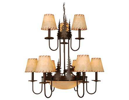 Vaxcel Yellowstone Burnished Bronze & Faux Leather Amber Flake Glass 12-Light 31'' Wide Chandelier