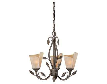 Vaxcel Capri Black Walnut & Excavation Glass Three-Light 20'' Wide Mini Chandelier