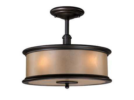 Vaxcel Carlisle Noble Bronze & Smoky Opal Glass Three-Light 13 Semi-Flush Mount Light