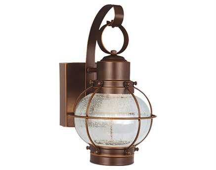 Vaxcel Chatham Burnished Bronze & Seeded Glass Three-Light 6.5 Led Outdoor Wall Light