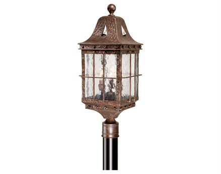 Vaxcel Edinburgh Colonial Iron Water Glass Three-Light 9 Outdoor Post Mount Lantern
