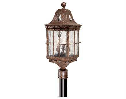 Vaxcel Edinburgh Colonial Iron Water Glass Three-Light 9 Outdoor Post Mount Lantern