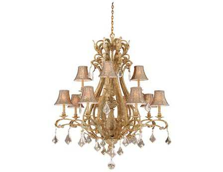 Vaxcel Empire Phoenician Platinum & Fabric 12-Light 43'' Wide Grand Chandelier
