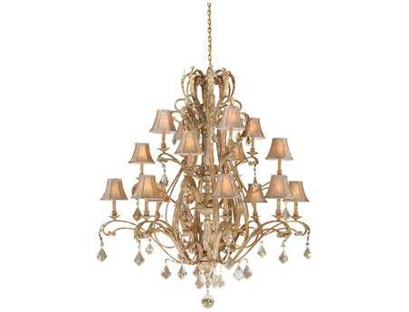 Vaxcel Empire Phoenician Platinum & Fabric 16-Light 56'' Wide Grand Chandelier
