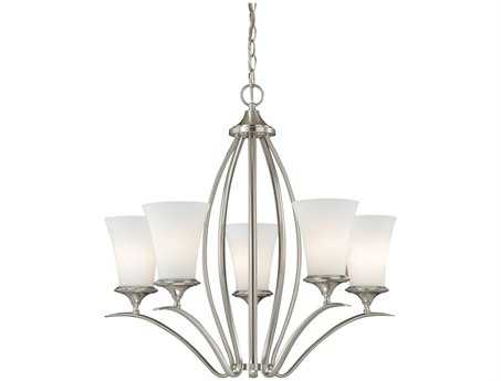 Vaxcel Sonora Satin Nickel & Frosted Opal Glass Five-Light 26'' Wide Chandelier