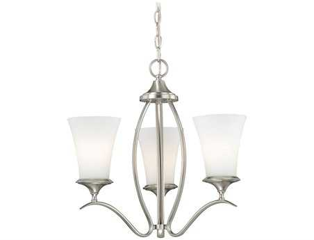 Vaxcel Sonora Satin Nickel & Frosted Opal Glass Three-Light 18'' Wide Mini Chandelier