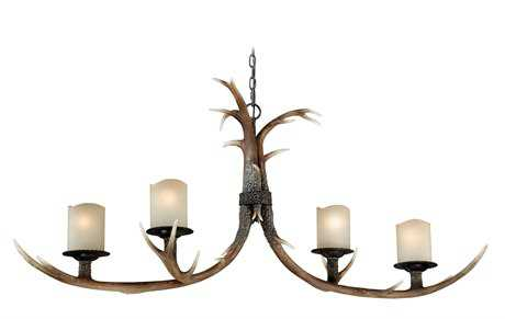 Vaxcel Yoho Black Walnut & Creme Cognac Glass Four-Light 22'' Wide Chandelier
