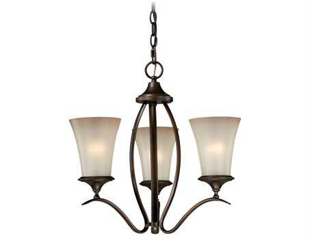 Vaxcel Sonora Venetian Bronze & Champagne Glass Three-Light 18'' Wide Mini Chandelier