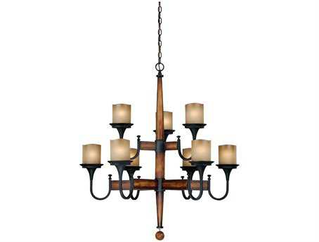 Vaxcel Meritage Charred Wood with Black Iron & Antique Cream Nine-Light 35'' Wide Chwithelier