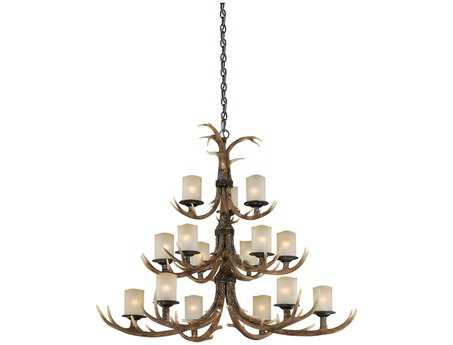 Vaxcel Yoho Black Walnut & Creme Cognac Glass 15-Light 52'' Wide Grand Chandelier