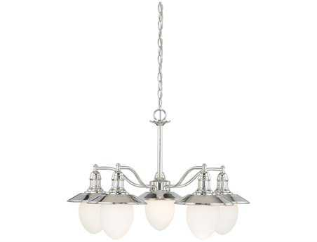 Vaxcel Marina Bay Polished Nickel & Frosted Opal Glass Five-Light 29'' Wide Chandelier