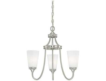 Vaxcel Lorimer Satin Nickel & Frosted Opal Glass Three-Light 19'' Wide Mini Chandelier