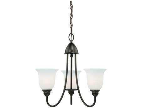 Vaxcel Concord Oil Rubbed Bronze & Etched White Glass Three-Light 20'' Wide Chandelier