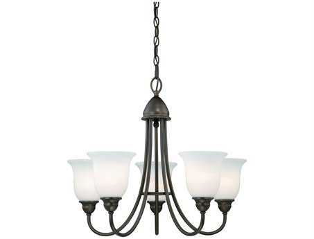 Vaxcel Concord Oil Rubbed Bronze & Etched White Glass Five-Light 25'' Wide Chandelier