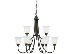 Vaxcel Concord Oil Rubbed Bronze & Etched White Glass Nine-Light 34'' Wide Chandelier