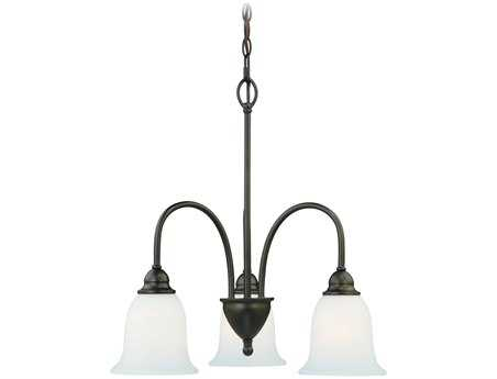 Vaxcel Concord Oil Rubbed Bronze & Etched White Glass Three-Light 21'' Wide Chandelier