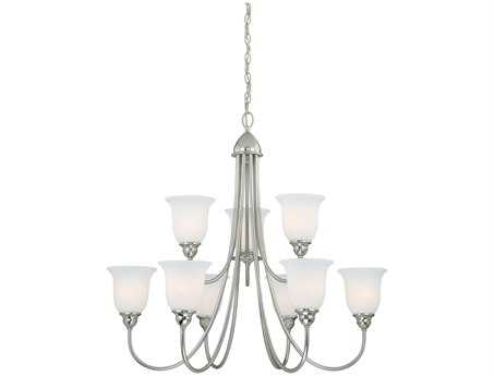 Vaxcel Concord Satin Nickel & Etched White Glass Nine-Light 34'' Wide Chandelier