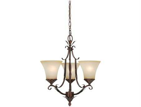 Vaxcel Coricelli Royal Bronze & Brushed Cognac Glass Three-Light 18'' Wide Chandelier