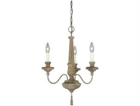 Vaxcel Lucca Vintage Wood Three-Light 18'' Wide Chandelier