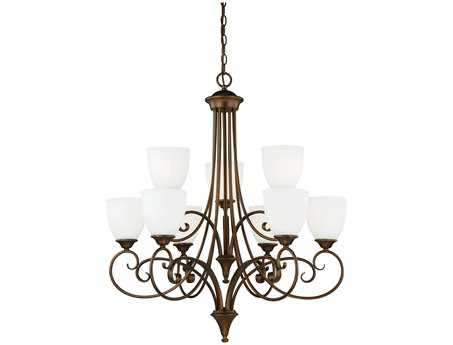 Vaxcel Claret Venetian Bronze & Etched White Glass Nine-Light 30'' Wide Chandelier