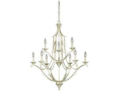 Vaxcel Austen Silver Leaf Nine-Light 31'' Wide Chandelier